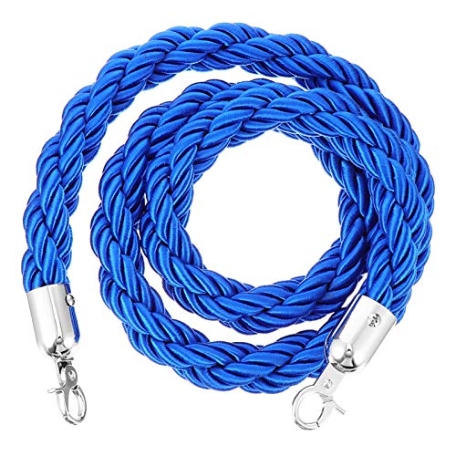 Baluue Crowd Control Stanchion Rope with Stainless Steel Hooks Queue Line Barrier Hemp Rope for Exhibition Airport Hotel Restaurant(Blue 1.5M)
