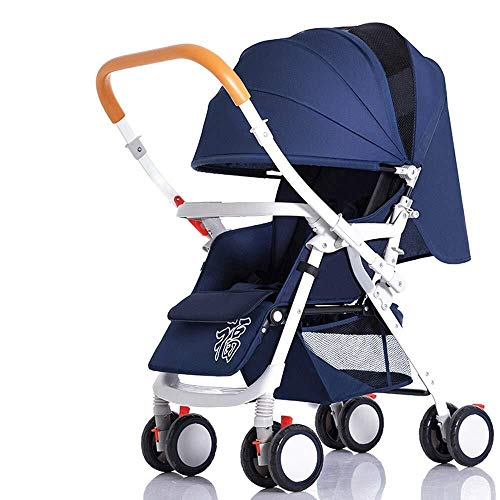 Fantastic Prices! LXJJDGF Baby Stroller, Four Seasons Available Navy Blue Lightweight Folding Stroll...