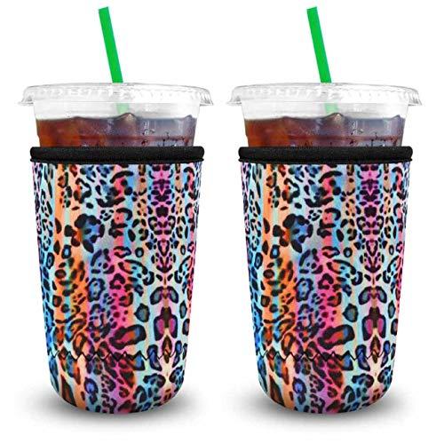 XccMe Wiederverwendbare Eiskaffee-Hüllen aus Neopren, Isolierbecher für kalte Getränke, Getränkehalter, ideal für Dunkin-Donuts, Starbucks-Kaffee, McDonalds (Rainbow Leopard Large 900 ml)