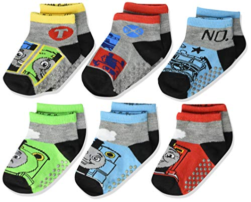 Thomas & Friends boys Quarter Length With Grippers, 6 Pair Pack Socks, Multicolor, Shoe Size 7-10 US