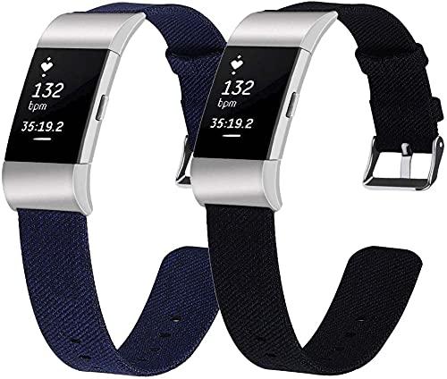 Gransho Correa de Reloj Compatible con Fitbit Charge 2, Lienzo Correa Relojes del ejército (Pattern 3+Pattern 6)
