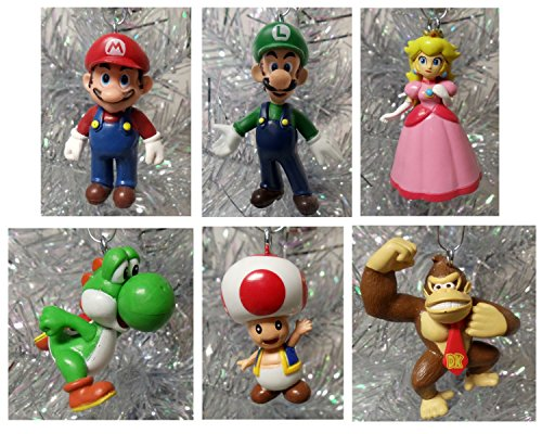 Super Mario Brothers 6 Piece Christmas Holiday Ornament Set Featuring Mario, Luigi, Donkey Kong, Yoshi, Toad and Princess Peach - Shatterproof Ornaments Range From 1.5' to 3' Tall