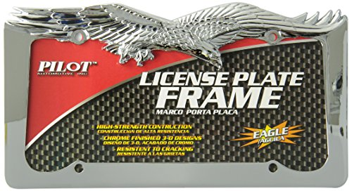 Bully WL108-C Chrome Eagle Novelty License Plate Frame Holder Front or Back Bumper Shows Car Tags - Exterior Accessories for Trucks, Cars and SUVs - 1 Piece