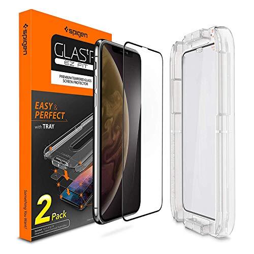 Spigen Glas.tR EZ Fit Panzerglas kompatibel mit iPhone 11, iPhone XR, 2 Stück, Volle Abdeckung, Kratzfest, 9H Härte Schutzfolie