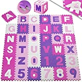 KIDIZ 86 teilige Puzzlematte Kinderspielteppich Spielmatte Spielteppich Schaumstoffmatte Kinderteppich, Puzzle Zahlen und Buchstaben, Maß je Matte ca. 31,5 x 31,5 cm Schutzmatte Rosa