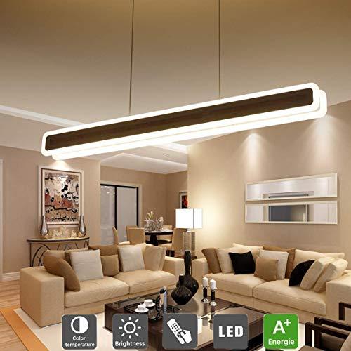 Luminaria colgante LED de cocina acrílica regulable, panel de escritorio ajustable en altura, lámpara colgante para salón, plafón colgante Piloto de LED y kit de suspensión incluido, 80 W, 100 cm