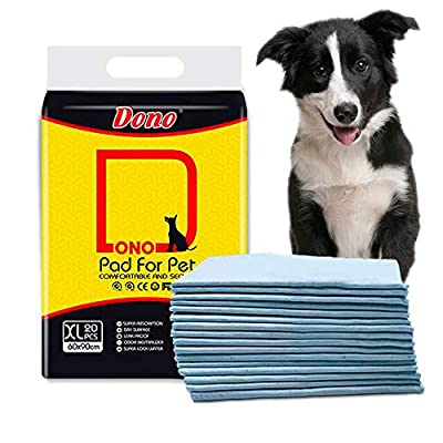 Dono Pet Training Pee Incontinence Pad for Dogs & Cats New Puppy House Training Pads Mats for Younger Pets, Adult Pets Including 20 PCS 60 * 90cm Anti Slip & Leakproof Super Absorption