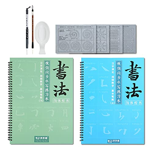 Aovoa Reusable Chinese Water Writing Magic Cloth Paper, Magic Water Writing Paper, Inkless Chinese Water Writing Cloth Paper with Brush and Water Dish for Beginners Practice Set