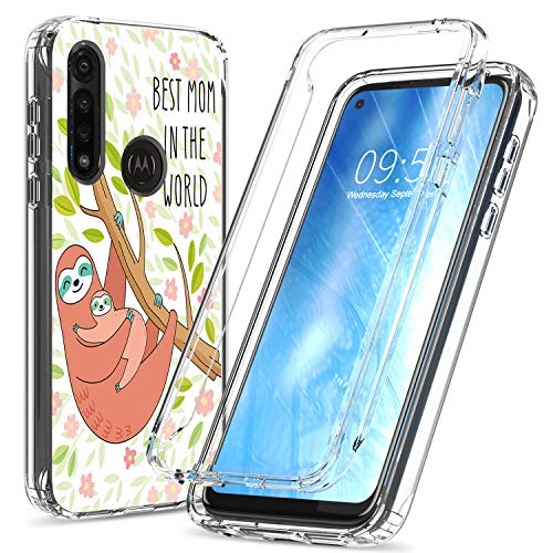 Moto G Power Case, BEROSET Dual Layer Hard PC Bumper + Soft TPU Cover Shockproof High Impact Protective Clear Phone Case for Motorola Moto G Power 2020 - Best Mom in The World Sloth