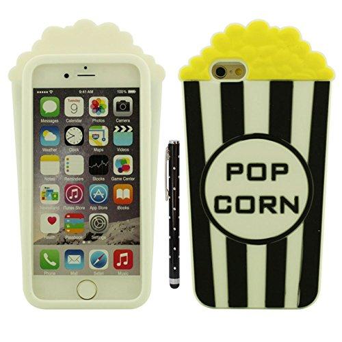 iPhone 6 Plus Funda Protectora, Moda Original Diseño Palomitas de maiz Forma Suave Silicona Carcasa Protectora Case para Apple iPhone 6 Plus / 6S Plus 5.5 Inch con 1 Lápiz óptico