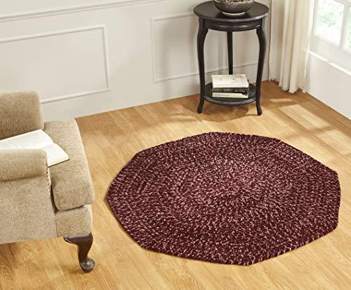 Better Trends Chenille-Tweed-Flecht-Kollektion ist langlebig und schmutzabweisend, wendbar, für den Innenbereich, 100 % Polyester, in leuchtenden Farben, achteckig, 122 cm, Burgunderrot und Mauve