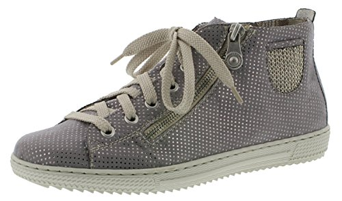 Rieker L9402 Damen Kurzstiefel, Stiefel, Boots, Stiefelette mit sommerlicher Perforation grau...