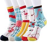 Merclix Calcetines Mujer Algodon, Calcetines Divertidos Con Dibujos, Regalos Originales Para Mujer Niñas (Flamenco, 5)