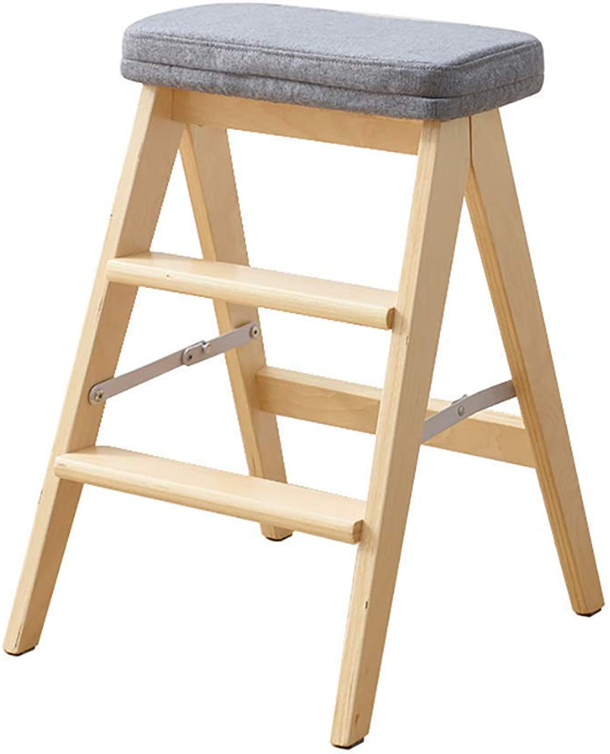 D-Z Chair Stool Folding Ladder Step Stool Portable Ladder Stool Multipurpose Solid Wood Kitchen Stool Household Climbing Wooden Stool, Stool 2, a