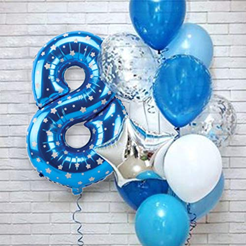 XIAOYAN Globos 12 unids Número Azul Foil Latex Balloons Fiesta de cumpleaños Decoración de la Fiesta Niños Bebé Bebé Príncipe 1 2 3 4 5 6 7 7 8 9 años 1er cumpleaños ( Color : Blue 8th )