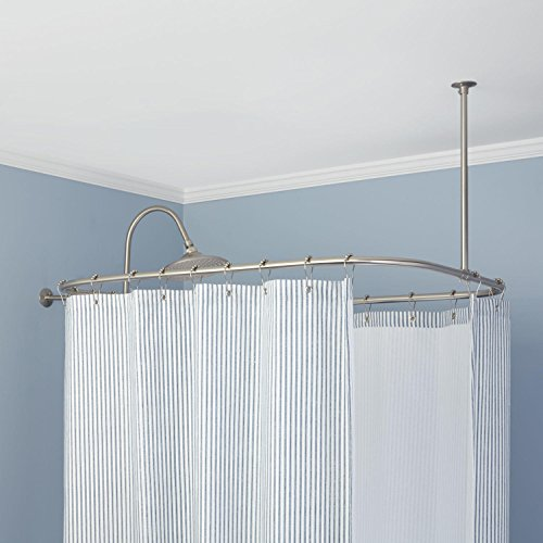 Signature Hardware 345611 60' x 28' Rectangular Solid Brass Ceiling and Wall Mounted Shower Curtain Rod