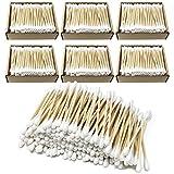 Home Point - Bastoncini di ovatta sostenibili in legno e cotone, 100% cotton fioc, senza plastica, bastoncini per la cura delle orecchie, bastoncini di cotone (1200 pezzi (confezione da 6)