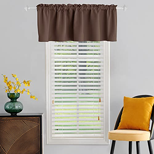 TOAVA DECO Brown Window Valances 18 Inch Length Rod Pocket Thermal Insulated Blackout Brown Curtain Valance for Living Room Bedroom Kitchen Bathroom Basement Windows 52 x 18 Inches Long 1 Panel