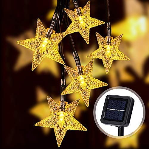 AUCHY 1800Mah11M 36FT/60 LED Solar Star String Lights, 12H Long Lasting Solar Garden Lights Outdoor IP65 Waterproof Solar Powered Outdoor Lighting with 8 Modes for Garden, Patio, Yard,Tree Decoration