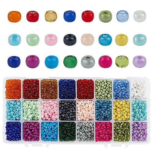 PandaHall 24 Cuentas de Semillas de Vidrio de Colores 6000 Uds Colores Surtidos 4mm Mini Cuentas de Brillo para Hacer Joyas DIY artesanía Abalorios