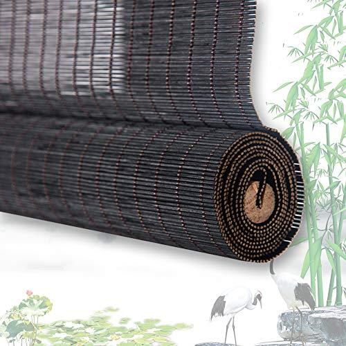 Estores De Bambú Persianas QIANDA Negro Filtrado De Sol Venecianas Enrollable Cortina Sala De Partición Fácil Instalación, Tamaños Personalizado (Color : B, Size : 60cmX135cm)