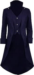Mens Gothic Tailcoat Jacket Black Steampunk Victorian Long Coat Halloween Costume