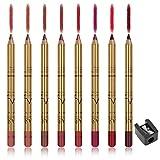 CCbeauty Lip Liner Pencil Makeup Matte Lip Liner Pen Waterproof Long Lasting Lipstick Liner Slim 8 Color Set with Sharpener
