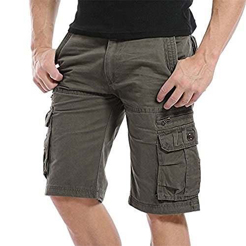 Sunshey Cotton Casual Mens Twill Cargo Shorts Pants Summer Fashion Sports Beach Travel Pockets Camouflage Shorts (Soil Color, 34)