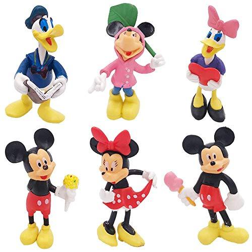 6PCS Mickey Mini-Zeichensatz, Geburtstagstorte Zylinder, Kindergeburtstagsfeier Babyparty Kuchen Dekoration Artikel, Mickey Minnie Donald Duck Gänseblümchen Puppe Ornamente