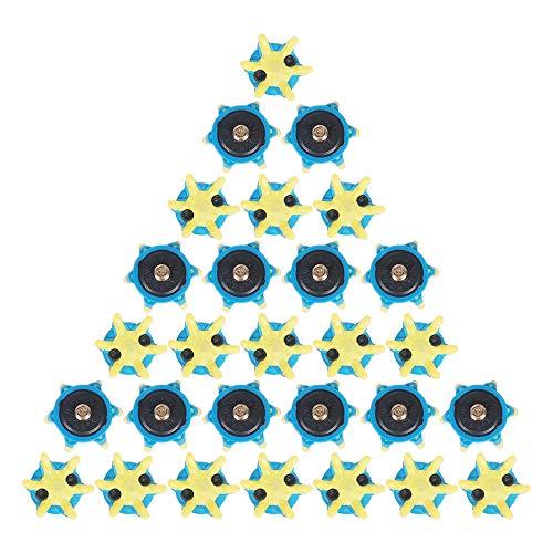 MamimamiH 28 Stück Golfschuh-Spikes Schraubbolzen Zubehör Golf Training (blau/gelb)