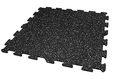 IncStores 8mm Strong Rubber Tiles (Grey, 9 Center Tiles) Interlocking Rubber Gym Mats for Home Gym Flooring, Exercise Mats, Equipment Mats & Fitness Room Floors