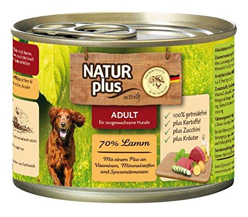 NATUR plus Hundefutter ADULT mit 70% Lamm (getreidefrei) (6 x 200 g)