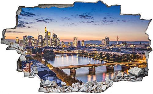 Frankfurt Abends Skyline Wandtattoo Wandsticker Wandaufkleber C1357 Größe 40 cm x 60 cm
