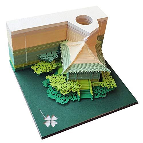 DIY Papier Kunst Baustein 3D Stick Notizblöcke Notizen Aufkleber Papiere Karte Handwerk Kreative Post Notizen Papier Kunsthandwerk(Pavilion Green)