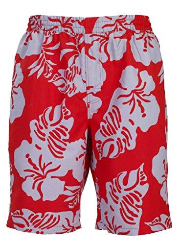 Bugatti yizz - da spiaggia uomo pantaloncini con motivo floreale su fondo nero o rosso/grigio chiaro/Jade