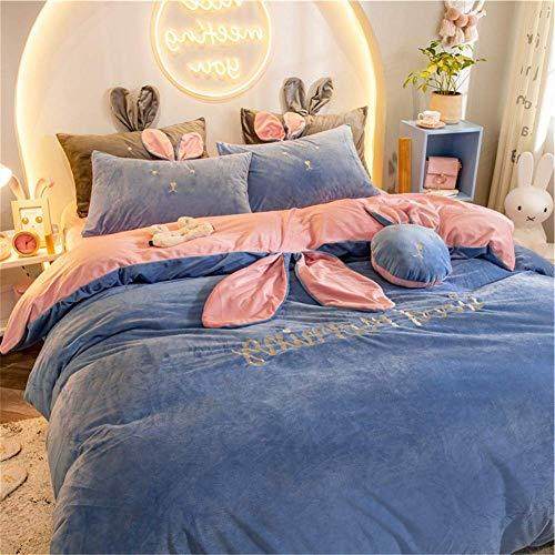 LOVE SUGER luxurious Flannel Quilt Duvet Cover Brushed Cotton Flannelette Duvet Cover Set Gray,220 * 240CM