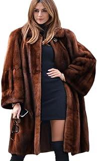 Winter Coat Female Thickening Long Section Side Slit Pocket Plush Coat,Camel,XXL