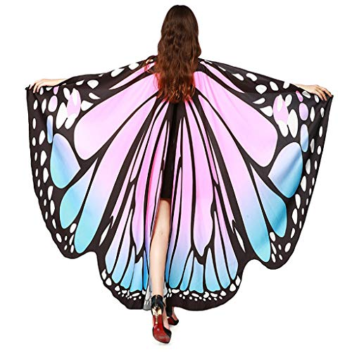 Schmetterling Kostüm Damen Flügel, Riou Erwachsene Schmetterlingsflügel Schal Kostüm Pixie Nymph Feenkostü Hallowee Fasching Kostüme