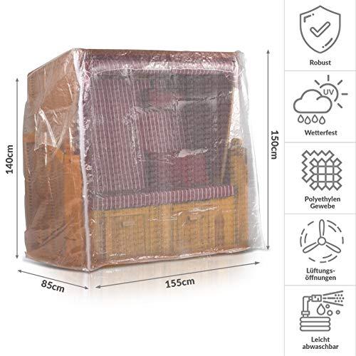 Strandkorb Schutzhülle 150 cm breit in Transparent, Strandkorbhülle mit Reißverschluss, Strandkorbabdeckung - 2