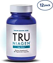 TRU NIAGEN Nicotinamide Riboside - Patented NAD Booster for Cellular Repair & Energy, 150mg Vegetarian Capsules, 300mg Per Serving, 30 Day Bottle (Pack of 12)