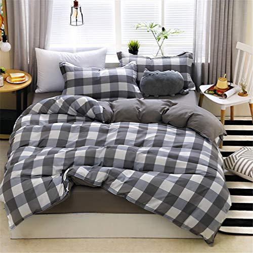 Ropa de cama 4 Piezas (1 pieza de sábanas y 1 funda nórdica y 2 fundas de almohada) Geometría Raya Negro Blanco Rosado Marina Azul (4 Piezas 150x200 cm - Cama 90 cm,Plaid Gris)