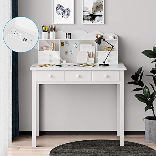 ADORNEVE Writing Desk with USB Port, Home Office Desk with Drawers and Hutch, 36.2' Study Table for Student/Adults, Computer Work Station with Storage Shelf, 7 Drawers, White