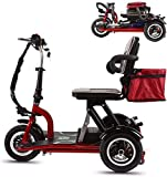 Qfzfei Folding Mobility Scooters,3 Wheeled Electric Mobility Scooter 300W Motor, 20km/H, 3 Speed Adjustment,Suitable For the Elderly, the Disabled, Adults (Size : 40KM)
