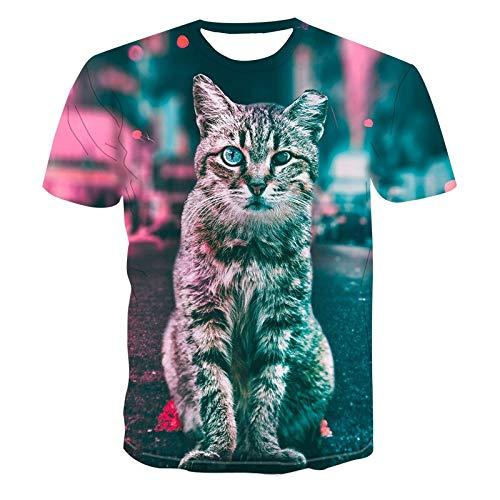 GJCDGPZTX 3D T-Shirt Nueva Camiseta De Verano Camiseta para Hombre/Niño Camiseta Divertida Impresa Gato 3D Camiseta De Moda Animal De Manga Corta Camiseta Dropshipping