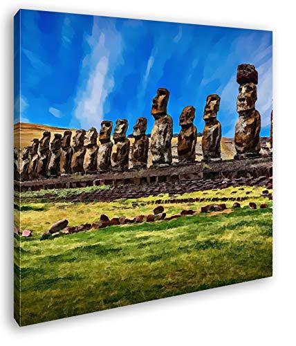 deyoli Steinköpfe auf den Osterinseln Format: 70x70 Effekt: Zeichnung als Leinwandbild, Motiv fertig gerahmt auf Echtholzrahmen, Hochwertiger Digitaldruck mit Rahmen, Kein Poster oder Plakat