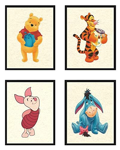 Winnie the Pooh Prints Nursery Wall Art Set of (4) Piglet Tigger Eeyore 8x10 Prints