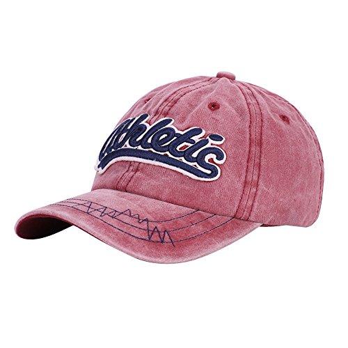ITODA Baseball Cap Baseball Tennis Kappe Mütze Hut Hip Hop Snapback Caps Unisex für Erwachsene und Kinder Outdoor Stickerei One Size Baseballmütze Sonnenhut Rot