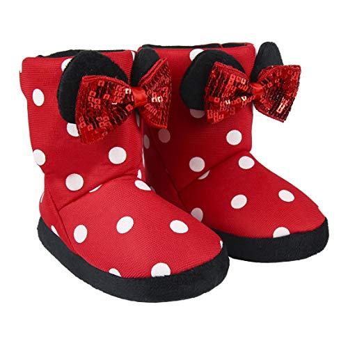 Disney Minnie Mouse Zapatillas de Estar por Casa para Niñas, Pantuflas Cálidas de Felpa Suave y Acogedora, Zapatillas en 3D Súper Divertidas, Diseño Fácil de Poner, Regalo para Niñas! (Rojo, 26)