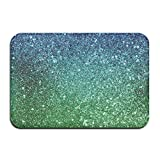 Quafoo Elegante tapete de Puerta Delantera con Nudo Dorado Gran tapete de Entrada Interior al Aire Libre Hogar, 24a132 Cya 24a132 Cyan Glitter