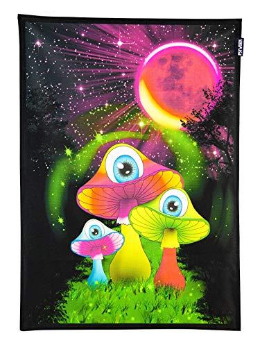 PSYWORK Schwarzlicht Stoffposter Neon Redmoon Mushrooms, 0,5x0,7m